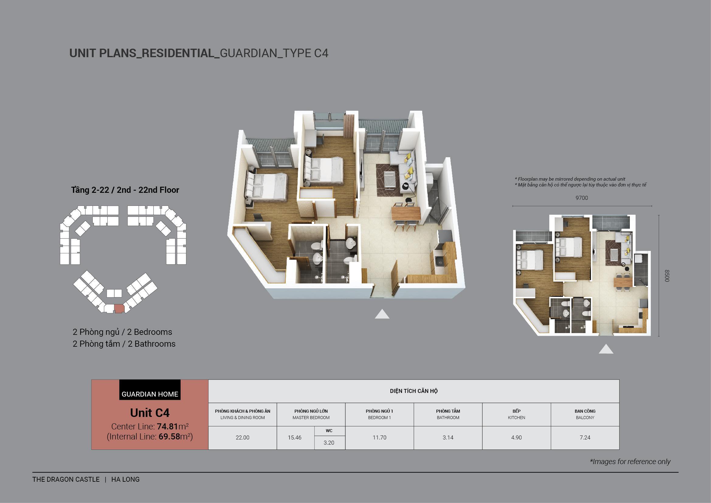 căn hộ chung cư 2 phòng ngủ