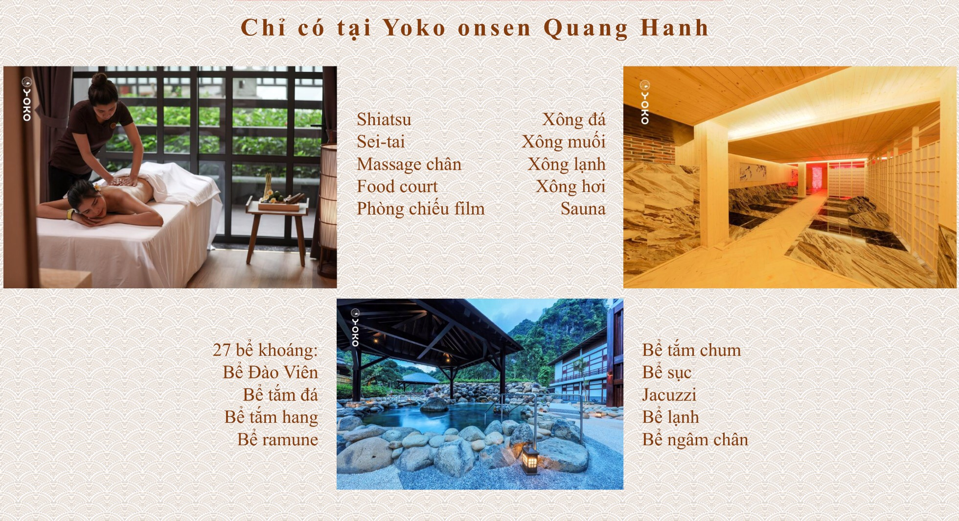 các dịch vụ tại yoko onsen villa Quang Hanh
