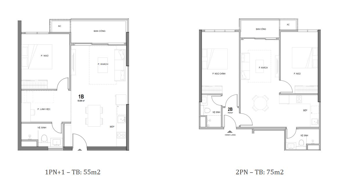 mẫu căn hộ 1+ PN và 2 PN